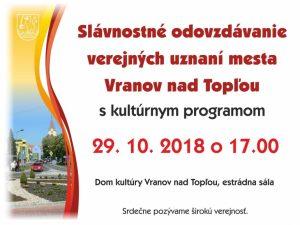Slávnostné odovzdávanie verejných uznaní mesta Vranov nad Topľou